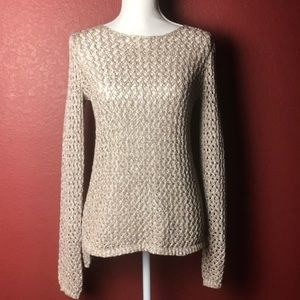 Kenar metallic open weave pullover sweater